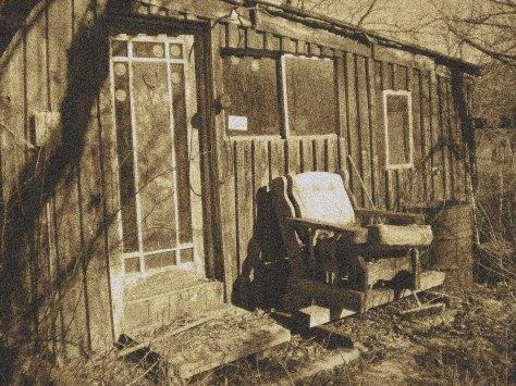 sepia tone abandoned house